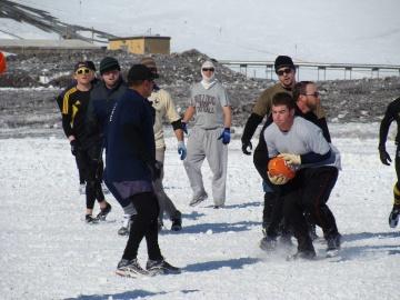 Rugby practice in Antarctica